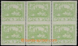 81731 -  Pof.3D, 5h light green, block of 6 with omitted vertical pe