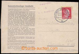 81741 - 1942 KT AUSCHWITZ  předtištěný skládaný dopis z lágru