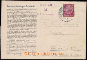 81743 - 1942 KT AUSCHWITZ  předtištěný skládaný dopis z lágru