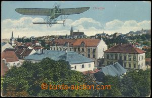 81773 - 1912 CHRUDIM - view over housetops, aircraft over the town;