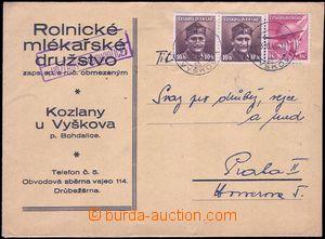 81800 - 1945 poštovna KOZLANY (BOHDALICE), firemní obálka vyfr. z