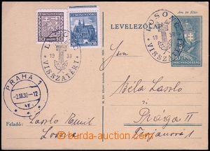 81818 - 1938 maďarská dopisnice dofr. čs. zn. 10h Znak + 50h Plze