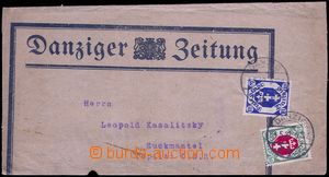 81825 - 1922 whole newspaper wrapper with additional-printing Danzig