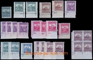 81856 - 1926 Pof.209-224, Castles, selection of 21 pcs of corner pie