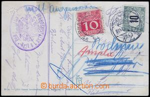 81863 - 1915 postcard sent by FP, disallowed and burdened with posta