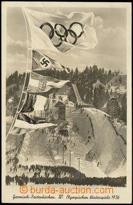 81879 - 1936 olympijské hry v Ga-Pa, vlajka se svastikou, prošlá