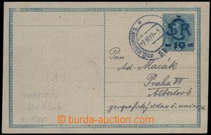 81950 - 1919 CDV1Pab, modrý přetisk, modrošedý papír, zaslaná