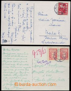 81972 - 1933-37 2 pcs of Ppc sent to Czechoslovakia, franked by stmp
