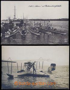 81979 - 1917 2ks fotopohlednic, rakouský hydroplán na moři + něm