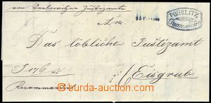 82016 - 1845 folded letter with blue (!) oval decorated  cancel. POH