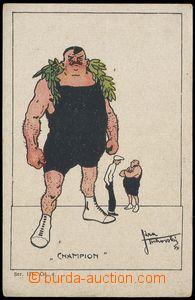 82263 - 1920 ZÁPAS, karikatura, umělecká dopisnice, autor Tichovský,