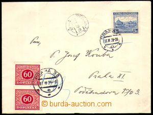 82541 - 1939 obyčejný dopis zaslaný po Praze vyfr. zn. Pof.351, Sněm