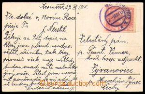 82690 - 1918 pohlednice vyfr. zn. 10h červená, Pof.5, DR KROMĚŘÍŽ/ 3