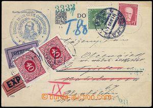 82825 - 1934 POTRUBNÍ POŠTA  bezportní dopisnice zaslaná Ex + po