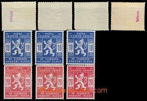 82969 - 1918 Pof.SK1-2, sestava 4ks padělků a 6ks pravých známek