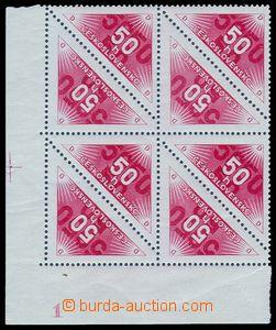83035 - 1937 Pof.DR2B, Doruční 50h červená, rohový 8-blok s okrajem