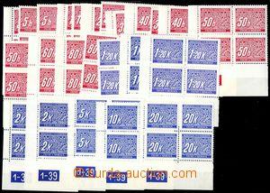 83048 - 1939 Pof.DL1-14, Doplatní, sestava 24ks 4-bloků s DČ, vš