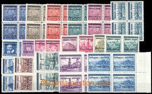 83049 - 1939 Pof.1-19, Přetisková emise, kompletní série, 4-blok