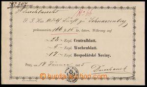 83075 - 1865 RAKOUSKO  Potvrzení o předplatném na noviny, vystaveno