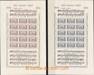 83362 - 1934 Pof.A283, A284, aršíky KDM s deskami, aršík A283 se zná