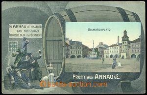 83611 -  HOSTINNÉ (Arnau) - barevná koláž, pijáci piva a sud, náměst