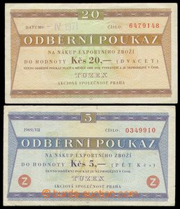83692 - 1969-71 ČSR II. TUZEX odběrní poukázky na 5Kčs a 20Kčs