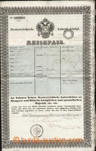 83717 - 1853 cestovní pas, Rakousko, dvoulist většího formátu,
