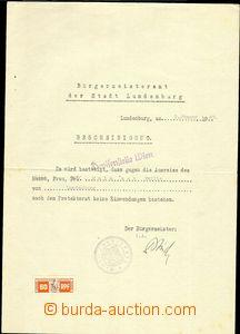 83729 - 1940 SUDETY / BŘECLAV (Lundenburg)  potvrzení úřadu star