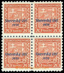 83815 - 1939 Alb.4pg, Přetisková emise, 4-blok, pergamenový papí