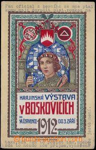 84108 - 1912 BOSKOVICE - secesní pohlednice Krajinská výstava, ba