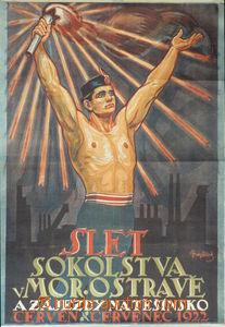 84726 - 1925 HOPLÍČEK  plakát, Sokolský slet Ostrava, tisk Neubert S