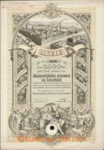 84753 - 1937 ČSR I.  akcie na 5000K, akcionářský pivovar, Smíchov, v