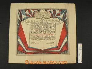 85355 - 1938 ČSR I.  Československá revoluční medaile, dekret -