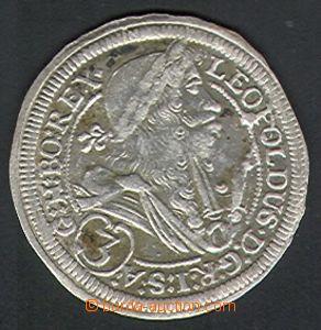 85390 - 1698 Leopold I. 3krejcar, Štýrský Hradec, IA 1698, Ag, 1/