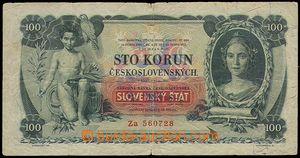 85394 - 1939 SLOVENSKO  Ba.43b, 100(Ks) TGM - přetisk, série Za, k