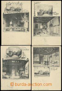 85415 - 1901 LEDNICE (Eisgrub) - sestava 4ks pohlednic, interiéry,