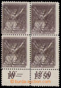 85658 -  Pof.152B 25h hnědá, nevydané, dvojitý tisk, 4-blok s dolním