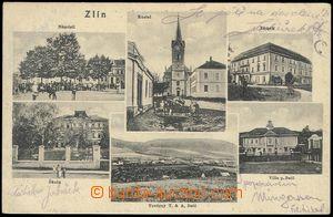 85718 - 1918 ZLÍN - 6-okénková, náměstí s kostelem, zámek, vi