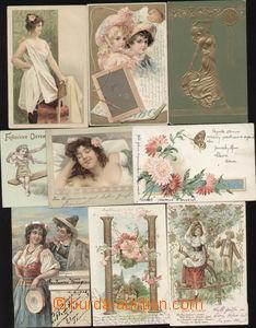 85851 - 1902 sestava 9ks pohlednic, tlačené, zlacené, litografie,