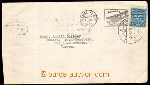 86025 - 1933 POŠKOZENÁ ZÁSILKA  Let-dopis z USA vyfr. zn. 5c, SR