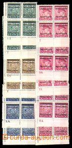 86066 - 1939 Přetisková emise, sestava 11ks rohových 4-bloků s D