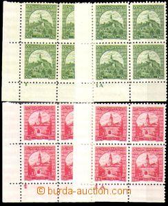 86101 - 1933 Pof.273-274, Nitra, dolní rohové 4-bloky, obě hodnoty s