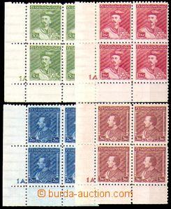 86102 - 1932 Pof.268-271, Tyrš, rohové 4-bloky s DČ 1A, svěží, kat.