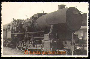 86287 - 1930? lokomotiva čís. 52 782, fotopohlednice, ozdobný oř