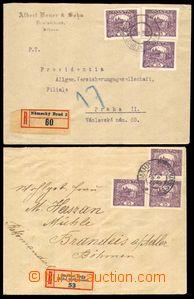 86436 - 1919 2ks R dopisů vyr. 3-násobnou frankaturou zn. 25h fial