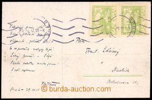 86582 - 1918 pohlednice vyfr. svislou 2-páskou Pof.3, SR BRNO 30.XI