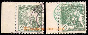 86834 -  Pof.27Aa, 15h světle zelená, 2ks, oba krajové, 1x fragme