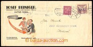 86906 - 1937 tiskopis vyfr. zn. Pof.OT1 + Pof.252, SR Kutná Hora 1/