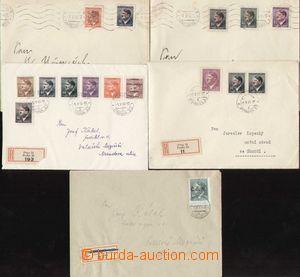 87066 - 1945 sestava 5ks dopisů s bohatými frankaturami protektorátn