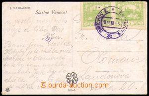 87079 - 1918 rané použití 2-pásky 5h, Pof.4, DR SMÍCHOV 1/ 28.X